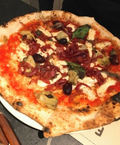 Franco Manca pizza 5 with onions and artichokes